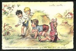 Künstler-AK Germaine Bouret: Cache-cache..., Kinder Spielen Verstecken - Illustrators & Photographers