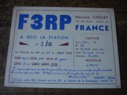 1938 Paris 16 Bld Murat Maurice Cholet F3rp Carte Qsl Radio Amateur  Timbre Vignette - Radio Amatoriale