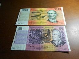 AUSTRALIA    - 5    AND    20  DOLLARS    BILLETS LOT - 1974-94 Australia Reserve Bank