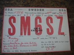 1937 Sweden Stockholm Sm6sz  Carte Qsl Radio Amateur - Radio Amateur