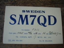 1938 Sweden  H Zillman Sm7qd Carte Qsl Radio Amateur - Radio Amateur