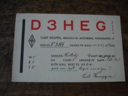 1937mochbern Curt Kruppa D3heg Carte Qsl Radio Amateur - Radio Amateur