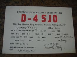 1936 Pforzgeim Allee Hermanngoring D 4sjo Carte Qsl Radio Amateur - Radio Amateur