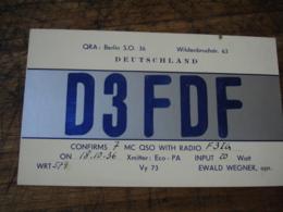 1936 Berlin D3fdf Ewald Wegner  Carte Qsl Radio Amateur - Radio Amateur