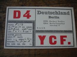 1937 Berlin D4ycf Carte Qsl Radio Amateur - Radio Amateur