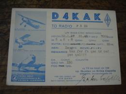 1937  Decor Avion Erika Capelle D4kak Qsl Radio Amateur - Radio Amateur