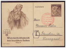 Dt.- Reich (007640) Propaganda Ganzsache WHW P274/ 01, Mit Stempel Prag Und Taxstempel Vom 11.3.1939 - Germania