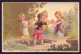Cartão Publicidade LOJA MODAS - Rua Aurea 269 LISBOA Portugal. Old Victorian Trade Card CHROMO VTC Girls Play 1880s - Cromo