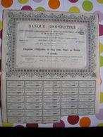 Cinquième D'obligation De 500 Francs Au Porteur De La Banque Coopérative De Paris - 23 Novembre 1898 - Peu Commun - Bank & Insurance