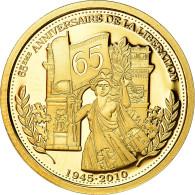 France, Médaille, 65ème Anniversaire De La Libération, History, FDC, Or - Otros