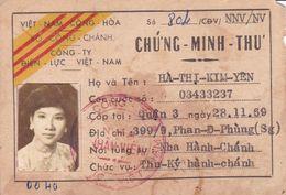 Carte Identité Saigon 1970 De La République Du Sud Vietnam Indochine Cochinchine Identity Card From South Viet-Nam - Documents Historiques