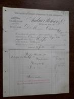 L15/114 Ancienne Facture. Lyon. Extrait D'Absinthe Suisse Et Vermouth. André Rohrer . 1889 - 1800 – 1899