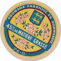 ETIQUETTE  DE  FROMAGE NEUVE    NORMANDIE 76 D CANEHAN - Cheese