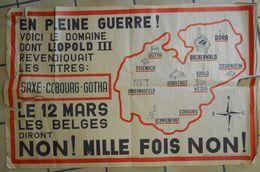 RARE Affiche Politique Leopold III Revendique Les Titres Saxe Cibourg Gotha Noms Des Camps De Concentration NON!Belge - Posters