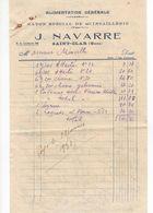 1511 Facture NAVARRE 32 St CLAR Gers 32 Alimentation Générale  Rayon Spécial Quincaillerie  1938 - Frankreich