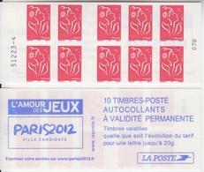 Marianne De Lamouche, N° 3744-C1 X 2 (L'Amour Des Jeux, Paris 2012, Ville Candidate), Neuf ** - Carnets
