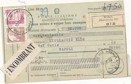 1982 CASTELLI IN BOBINA X MACCHINETTE 120+30 AD INTEGRAZIONE BOLLETTINO PACCHI DA 50 LIRE - 1981-90: Storia Postale