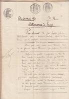 VIEUX PAPIER TIMBRE - DELIVRANCE DE LEGS 1871 - CACHETS - FILIGRANE AIGLE 1869 - DUPONT CARIAS MALMORT VAUCLUSE - France