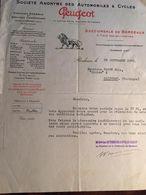 """Courrier De 1923, Entête Peugeot, Succursale De Bordeaux (33), Client Parre Et Fils """"Cycles Etc Salignac 24 Dordogne - France"""