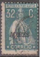 "AÇORES-1924-1928, Tipo «CERES». Selos Do Cont. C/ Sobrec. "" AÇORES "" 32 C.  D. 12x11 1/2 ( P. Liso )   (o) Afinsa Nº 204 - Azoren"