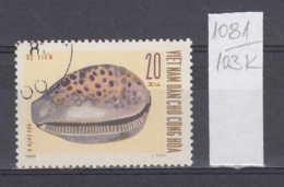 103K1081 / 1970 - Michel Nr. 612 Used ( O ) Seashells - Cypraea Sp. Cypraea Tigris Tiger Cowrie , North Vietnam Viet Nam - Vietnam