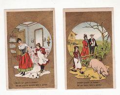 Chromo  Sans Pub    Lot De 2    Femmes, Jupon, Couple, Cochon     10.4 X 6.5 Cm - Autres