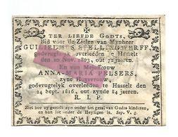 D 987. GUILIELMUS STELLINGWERFF -+HASSELT 1803 (72j.) // ANNA-MARIA PELSERS -+HASSELT 1916 (84j.) - Images Religieuses