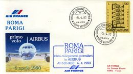 1980 1st Volo Roma Parigi AIRBUS AF 635/AB3 FRANCIA POSTA AEREA VATICANO.A - Airplanes