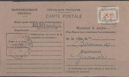 France Service (1946) Questionnaire Du Service Du Ravitaillement Général Affranchi N° 15A Obl 16.1.46, à 10% De La Cote - Service