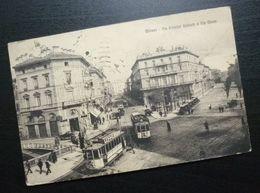 Italy C1925 Milano Postcard Sent To Croatia Yugoslavia Tramway Car Automobile View B1 - Usati