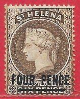 Sainte-Hélène N°174p Brun (filigrane CA & Dentelé 14) 1884-94 (*) - St. Helena