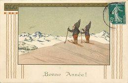 Themes Div-ref EE953 -illustrateurs -illustrateur - Lutin - Petits Lutins Skieurs - Ski - - Illustrateurs & Photographes