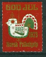 Vi Vignette Norway 1973 | Christmas Norwegian People's Aid, God Jul Norsk Folkehjelp - Erinofilia
