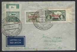 """Pologne-Polska Yv PA 5+9A+9B, Superbe Pli 1934 R.R.R. Coupe """"Gordon-Bennet"""" - Airmail"""