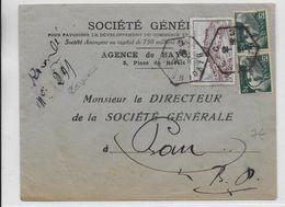 1946 - BASSES PYRENEES - CACHET HEXAGONAL De BAYONNE RECETTE AUXILIAIRE C Sur ENVELOPPE RECOMMANDEE PROVISOIRE => PAU - 1921-1960: Periodo Moderno