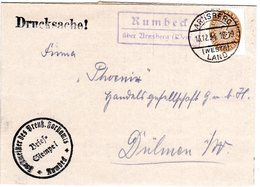 DR 1934, Landpost Stpl. RUMBECK über Arnsberg Auf Forst Brief M. 3 Pf. Dienst. - Germany