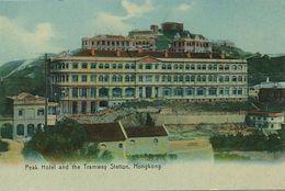 Hongkong  Peak Hotel And The  Tramway Station  Tram  Edit Sternberg Hand Colored - China (Hong Kong)
