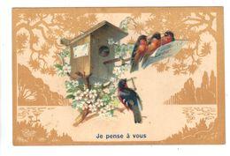 CPA Fantaisie JE PENSE A VOUS Ajoutis Chromo Oiseaux Bouvreuil Nichoir Partition Musique Fleurs 1906 Fantasy Birds - Oiseaux