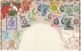 Hongkong Art Card Ottmar Zieher Carte Philatelique Philately Stamps And Map Boprneo Philippines Siam China Sumatra - China (Hong Kong)