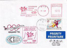 Austria 1998 Priority Cover: Winter Olympic Games Nagano; Airplane; Logo; Meter ; Ice Hockey Cachet; Figure Skating - Invierno 1998: Nagano