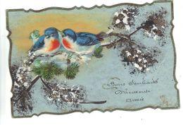 CPA Fantaisie HEUREUSE ANNEE Système Relief Ajoutis Chromo Oiseaux Rouge Gorge Branche Enneigée Fantasy Birds - Oiseaux