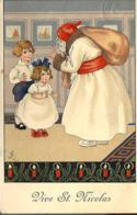 Dessin : Saint Nicolas Face à Deux Jeunes Enfants - Altre Illustrazioni