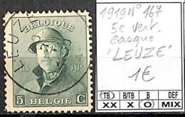 [847163]TB//O/Used-Belgique 1919 - N° 167, 5c Vert Casqué 'LEUZE', Familles Royales, Rois - 1919-1920 Behelmter König
