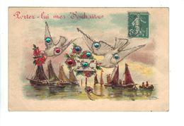 CPA Lot 2 Cartes Fantaisie HEUREUSE ANNEE  SOUHAITS Ajoutis Paillettes Fausses Pierres Oiseaux Colombes Bateaux Birds - Oiseaux
