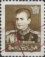1958 Mohammed Riza Pahlavi - 8r - Brown PEN CANCELLATION - Iran