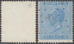 """émission 1865 - N°18 Obl Pt 88 """"Cortenberghe / Court-St-Etienne"""" / Frappe Légère, à étudier. COBA : 30 - 1865-1866 Profil Gauche"""