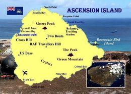 Ascension Island Map New Postcard Landkarte AK - Postcards
