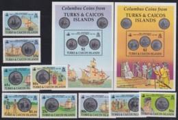 F-EX17949 TURK & CAICOS MNH DISCOVERY OF AMERICA COLUMBUS COLON COINS SHIP - Turks And Caicos