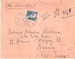 Yvert N°726(10f. Marianne De GANDON) Seul Sur Lettre Recommandée De Fortune Oblitéré FOIX ARIEGE - Marcophilie (Lettres)