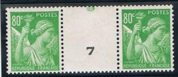 80c Iris Yvert 649, Paire Avec Numéro De Presse, ** - 1939-44 Iris